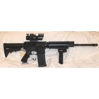 "Anderson AM15 5.56/223 Rifle 7"" Tactical Quad Rail 4X32 Scope With Fiber Optic BUIS VG Lite & Laser"