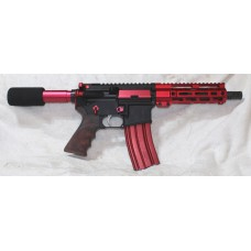 "The ""Victor"" Anderson Red AR-15 Pistol, 7.5"" Barrel, Caliber 223/5.56, Aluminum Lower, 7"" Tactical MLOK Handguard, 30 Rounds"