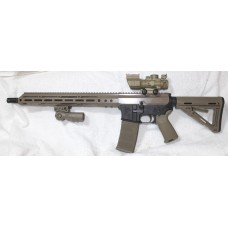 "Anderson BCA FDE AR15, 5.56 NATO, 15"" Slim M-LOK, Folding Grip, 4X32 Scope With BUIS"