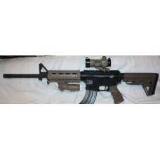 "Anderson BCA Custom Engraved AR15 7.62x39 Semi Auto Rifle, FDE Red Dot Site, Folding Grip, 7"" Quad FDE Hand Guard"