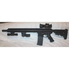 "Anderson AR15 50 Cal Beowulf 12.7x42, 15"" Slim MLOK, Red Dot Site, Vertical Grip, Flash Light, 10 Round Beowulf Mag"