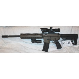 "AR-15 458 Socom Rifle, Burnt Bronze Duracoat, 16"" Barrel, 10"" Quad, Red/Green Dual Illuminated 2.5-10X40 Scope With Laser"